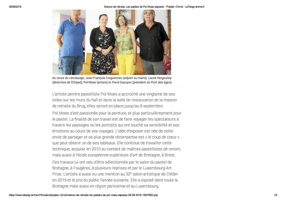 Maison de retraite les pastels de pol moes exposes pleyber christ letelegramme fr
